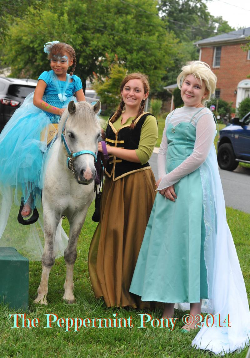 Margot Deppe as Elsa and Erica as Anna, with Silver at a Frozen themed party
